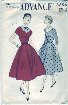FREE SHIPPING Vintage 1954 Advance 6856 Sewing Pattern Misses' Dress and Dickey Size 14 Bust 32