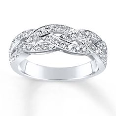 Three intertwining waves of sparkling diamonds form this exquisite anniversary band for her. Fashioned of white gold, the band has a total diamond weight of carat. Diamond Total Carat Weight may range from - carats. Anniversary Bands For Her, Diamond Anniversary Bands, Anniversary Jewelry, Diamond Bands, Diamond Jewelry, Jewelry Rings, Rough Diamond, 25th Anniversary, Gold Jewellery