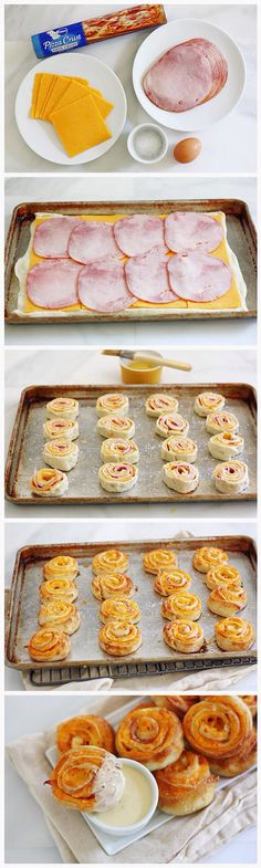 Heat oven to 425 degrees. Roll out dough & top with 8 oz. sliced cheese and 7 oz. ham slices. Roll up dough from long end into a log; pinch seam to seal. Slice into 16 equal pieces. Set each piece cut side-down on baking sheet. Brush dough with beaten egg. Sprinkle sides and tops with coarse salt. Bake 15-20 minutes until golden brown and cheese is melted and bubbly. Brush dough with melted butter. Sprinkle with more salt, if desired. Serve with a warm cheese sauce.