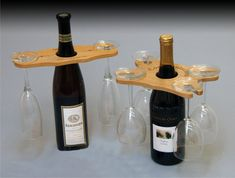 wine glass holder on wine bottle | Wine, Wine Bottle Toppers, Four Wine Glass Holder, Premium Woods ...