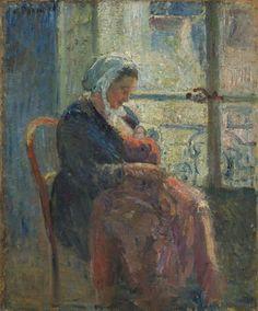 #allaitement : Julie allaitant Ludovic-Rodolphe, 1878. Camille Pissaro (1830 - 1903)  Huile sur toile signée - 46 x 38 cm.