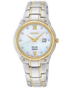 Seiko Women's Solar Diamond Accent Two-Tone Stainless Steel Bracelet Watch 30mm SUT214