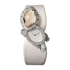 CARTIER TORTUE SECRET WATCH Quartz, white gold, morganite, diamonds, green sapphires   l Cartier