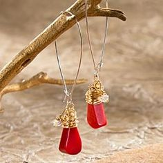 Coral & Gold Fill Wire Earrings in Late Autumn 2012 from Uno Alla Volta on shop.CatalogSpree.com, my personal digital mall.
