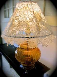 two and three and more, because in most houses there are plenty of doilies from grandma or mum. The good news is that the . Doily Lamp, Crochet Lampshade, Crochet Doilies, Restoring Old Furniture, Handmade Lampshades, Flower Lamp, Sewing Room Decor, Lace Painting, I Love Lamp