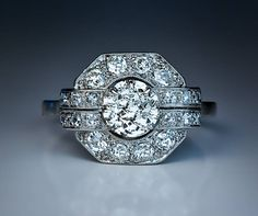 French Art Deco Diamond Platinum Ring 1920s image 5