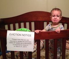 Funny baby announcement. Eviction notice.