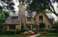 ❥ Gorgeous stone and half-timber Tudor style home in Dallas, TX | 1935