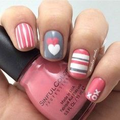 24 Simple Nail Design for Valentines Day #KidsNails