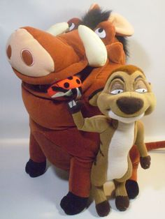 Large Disney World Pumbaa and Timon Plush Dolls Lion King Stuffed Jungle Animals #Disney