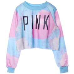 Voglee Women's Colorful Tie Dye and Pink Letters Print Midriff Crop Sweatshirt (M, Blue) at Amazon Women's Clothing store: featuring polyvore, fashion, clothing, tops, hoodies, sweatshirts, shirts, sweaters, crop tops, tie dye sweatshirt, pink crop top, crop top, pink sweatshirt and pink sweat shirt