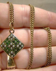 Victorian Edwardian Green Tourmaline, Red Spinel and Pearls Gold Plated Pendant on Chain Necklace Red Spinel, Green Tourmaline, Emerald Green, My Etsy Shop, Victorian, Pendants, Pendant Necklace, Pearls, Chain