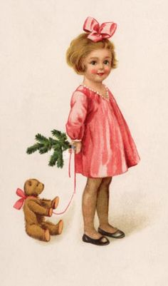 """Little girl and her teddy"", a antique Christmas postcard,"