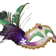 Amazon.com: Coxeer® Deluxe Half Mask with Peacock Feathers (Painting Purple): Clothing