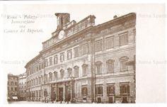 Piazza di Montecitorio. La Curia Innocenziana viene ancora chiamata col suo vecchio nome perchè sede provvisoria del Parlamento… Anno: Prima del 1905.