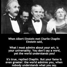 Post with 3137 votes and 144844 views. Tagged with the more you know, charlie chaplin, albert einstein; Shared by DaShanghaiKid. TIL Charlie Chaplin is an OG. Charlie Chaplin, Steve Harvey, Muhammad Ali, Keanu Reeves, Leadership, Funny Jokes, Hilarious, Comedy, Positive Memes