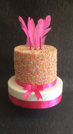 One 6 neon sponge rainbow sprinkles cake say on an 11 inch tier