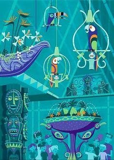 """The Birds Sing"" - Disneyland Enchanted Tiki Room Anniversary illustration by the delightful Disney Dream, Disney Love, Disney Magic, Disney Stuff, Deco Disney, Disney Pixar, Disney Nerd, Disney Songs, Walt Disney"