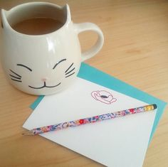 Teatime - giant cat mug and letterpress Poppy Stationery by inviting : letterpress boutique