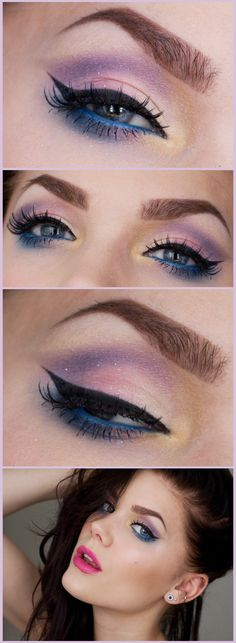 """Wave"" -Linda Hallberg (pinks, purple, pop of blue, a touch of yellow,subtle glitter)"