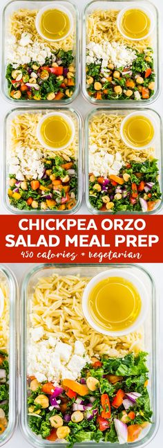 This chickpea orzo salad recipe is the PERFECT lunch meal prep for the week that you can take to work. It's a super easy salad meal prep recipe that's quick, flavorful and filling. With chickpeas, kale, orzo and a bunch of veggies, this is a healthy and filling salad recipe you'll love. This is one of my favorite make ahead meals! #mealprep #lunchmealprep #makeaheadmeals #makeahead #mealprepping #salads