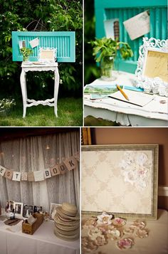 old shutter as card box...just slip cards through and attach a box on the back to catch them