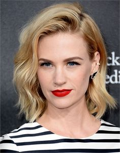 January Jones...i should try side parting my hair too