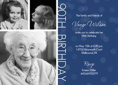 90th birthday party ideas   Timeline Confetti 90th Birthday Invitation