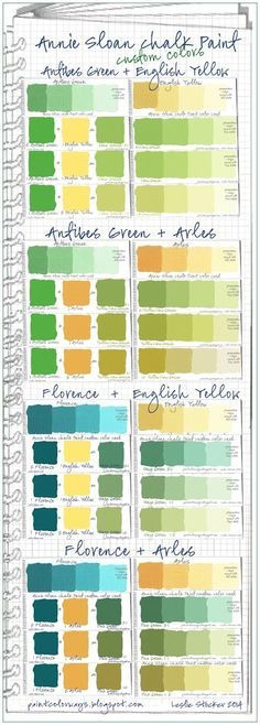 Here is a new page in my Annie Sloan Chalk Paint Color Swatch Book. It combines the color cards for the additional green colors you can mix, by using Antibes Green + English Yellow, Antibes Green+...