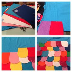 The Rainbow Fish costume. The images represent the steps.