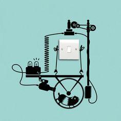 Bisognerebbe produrre elettricita' in modo sostenibile e consumarne con moderazione! Adesivo compatibile con tutti gli interruttori per la luce (EU, UK, USA).