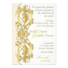 Elegant Scroll Wedding Invitation - Gold - 1