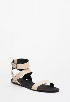 In white and black...Strappy Faux Leather Sandals   FOREVER21 - 2049258822