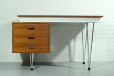 Rare Cees Braakman for Pastoe desk with Chrome hairpin legs