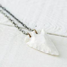 Porcelain Arrowhead Necklace