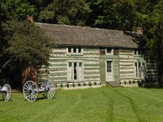 In 1848, Ulysses S. Grant and his new bride, Julia Dent, received   80 acres of Dent family land southwest of St. Louis as a wedding   gift. In 1855, Grant started sawing and notching the logs that would   be used to build a four-room, two-story cabin on the property. The cabin was completed in just three days with the help of friends. He layed the floors, built the staircase and shingled the roof.  In 1977, Anheuser-Busch restored the cabin to its present condition.