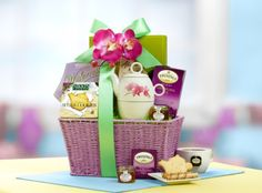 Tea gift basket, perfect for my grandma! Just add some honey spoons & she will love it.