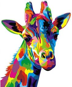 ifymei Paint by Number Kits Paintworks DIY Oil Painting for Kids and Adults Beginner,Painting on Canvas Color Deer(Color Giraffe) Giraffe Decor, Giraffe Art, Giraffe Head, Giraffe Pattern, Colorful Animal Paintings, Colorful Animals, Giraffe Painting, Diy Painting, Giraffe Drawing