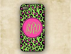 iPhone cover  Leopard print hot pink and lime by ToGildTheLily, $16.99