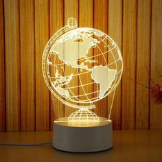 Purchase USB Acrylic Night Light LED Table Desk Bedroom Decor Gift Warm White Lamp from Yuanzala on OpenSky. Lampe 3d, Desktop Lamp, Decorative Night Lights, 3d Optical Illusions, Novelty Lighting, Novelty Lamps, Globe, Lumiere Led, Usb