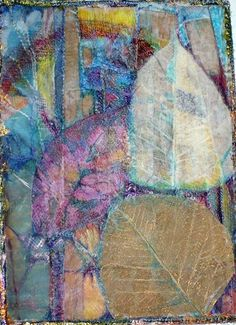 layers of fabric shapes, ribbons, some acrylic paint, overlayed with tissue, inspired by the above image