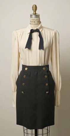 Suit Yves Saint Laurent (French) ca. 1986 wool, silk