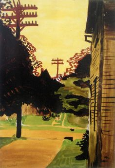 Charles Burchfield (American, 1893–1967), Yellow Afterglow, July 31, 1916. Watercolor and graphite on paper, 20 x 14 in.