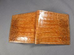 New Handmade Genuine Cognac Alligator/Crocodile Premium Skin Hipster Wallet 7