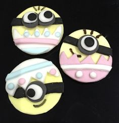 12 x edible icing Easter Minion cupcake toppers cake decorations by ACupfulofCake on Etsy