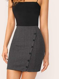 To find out about the Button Up Rib-knit Bodycon Skirt at SHEIN, part of our latest Skirts ready to shop online today! Mode Outfits, Skirt Outfits, Dress Skirt, Fashion Outfits, Fashion Clothes, Cute Skirts, Mini Skirts, Green Sequin Dress, Casual Dresses