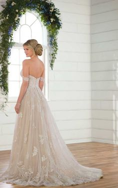 D2537 Off-the-Shoulder Wedding Dress with Sparkle by Essense of Australia