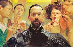 #Malczewski na dziś. Kusząca melodia (Autoportret z grajkami), 1903.