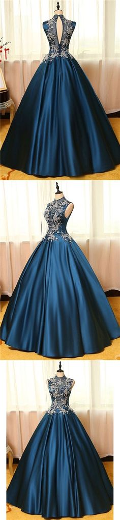Chic Prom Dresses Appliques High Neck Ball Gown Long Prom Dress/Evening Dress P2355