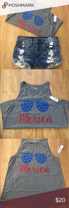 """4th of July Tanks ➡️NEW WITH TAGS ➡️Old Navy ➡️Sizes: Small and Medium ➡️SOLD out of L and XL ➡️NO FREE SHIPPING ➡️If you don't see your size available let me know. ➡️Sizes: L and XL have to pre order by tomorrow before 1 pm ➡️ALL shirts are designed by ME ➡️Blue """"sunglasses"""" and red glitter for """"Mercia"""" Old Navy Tops Tank Tops"""